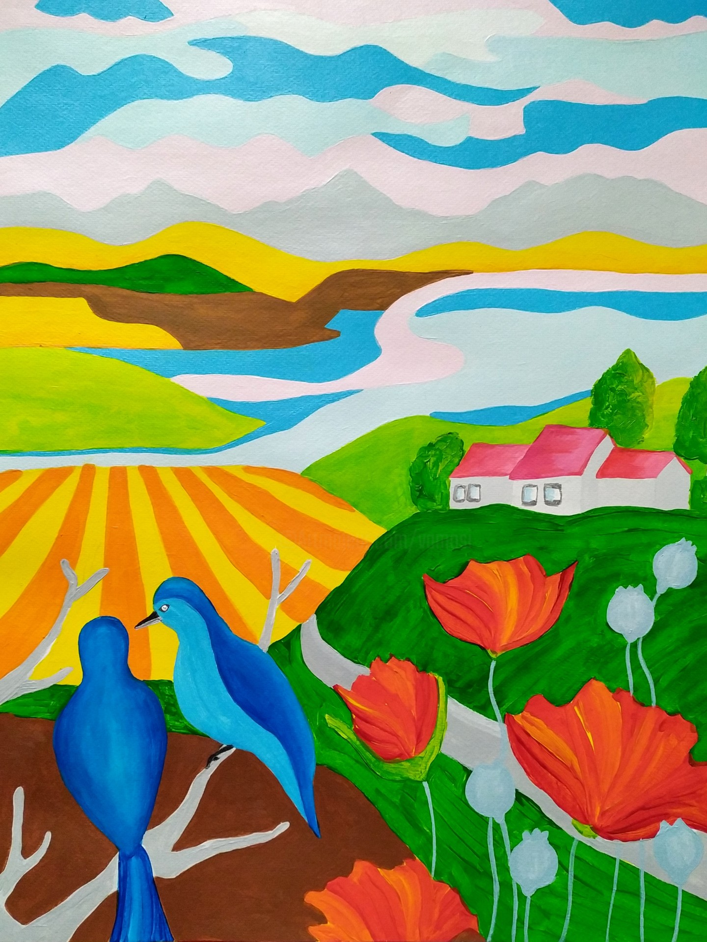 Peter Vamosi - Spring country with birds and poppies