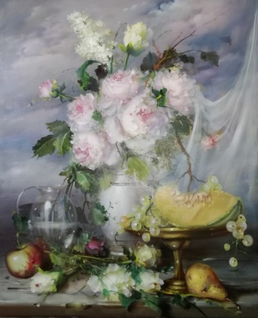 Still life with fruit and flowers (Artwork to order)
