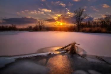 Winter evening in lowlands