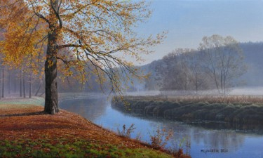 Autumn fog by the river